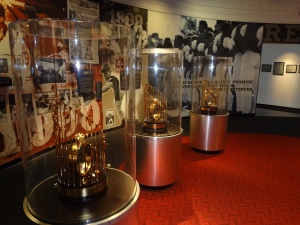 At the Reds Hall of Fame and Museum.  Championship trophies from 1975, 1976, and 1990