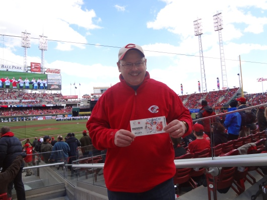At Great American Ballpark on Reds Opening Day