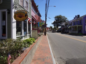 "Looking down Main Street in St. Michael's, Maryland.  I saw the sign for the shop that said Free chocolate, coffee, olive oil, & vinegar tastings and thought ""Geez, I hope they do that in reverse order""."