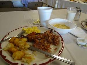 We shared this plate at the local fire department's breakfast fundraiser.  Eggs, sausage, bacon, tater tots, corned beef hash, all on real plates with real silverware.  In the bowl is the best grits I've ever tasted.