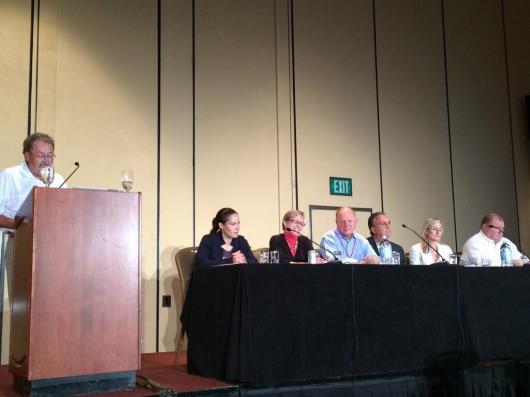From left:  Moderator Mike Swearingen, Stayce Beck (FDA), Christel Aprigliano, Andy Balo (Dexcom), John Agos (Sanofi), Melissa Schooley (Medtronic), Bruce Taylor (Roche)