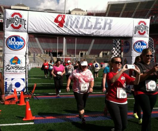 Janie is in pink right there at the finish line.  Yay!