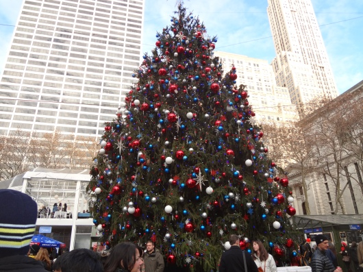 The Christmas tree in Bryant Park.