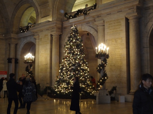 The Christmas tree at the front of the New York Public Library.  The NYPL is a good place to go any time of year.  In addition to their amazing collection, it's one of the few free places in the city that is warm in the winter and cool in the summer.