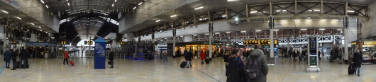 A panoramic view of Paddington station.  I did not see any bears.