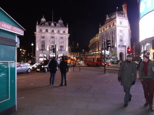 Picadilly Circus, about 11:00 p.m.