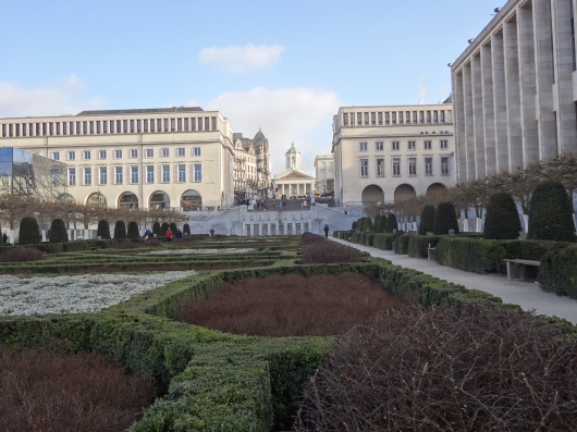 Looking up through Mont des Arts toward the Palace Royale.