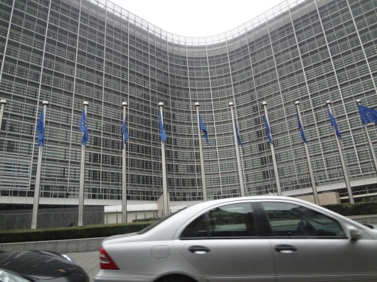 From my taxi to the train station, my one and only view of the EU general assembly building.