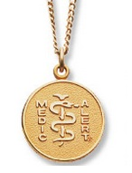 The only medical alert jewelry I've ever owned.