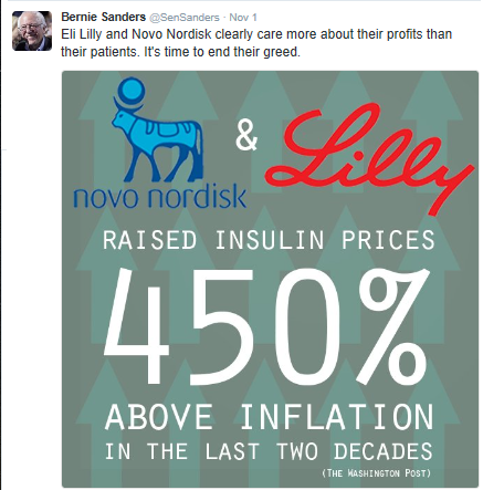 Insulin pricing has been an issue for a number of years, but it has gotten more notoriety lately, in part due to Senator Bernie Sanders' tweets.  There will likely be more discussion on this issue in the coming year.  See some of my recent blog posts to see my thoughts. (image courtesy of Twitter)